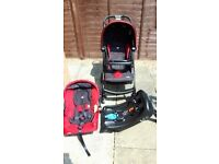 Joie Muze Travel System. Includes pram, car seat, car seat base, raincover . All in good condition