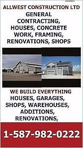 GENERAL CONTRACTING, SHOPS, GARAGES, CUSTOM HOMES, CABINS, WAR