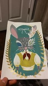 vintage bunny arcylic painting