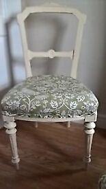 Refurbished vintage dining/bedroom chair upholstered pheasant & hare