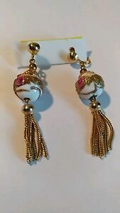 Vintage antique gold plated and ceramic earrings