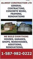 WE BUILD COMPLETE TURN KEY SHOPS, GARAGES, CUSTOM HOMES, RENOS