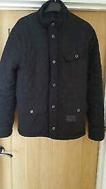 Mens quilted firetrap black jacket size Large