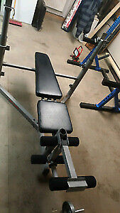 Pro-Form 738 Squat/Pressing Bench With Plates & Bar