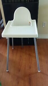 IKEA ANTILOP high chair with tray (white / silver)