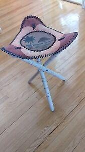 Leather three leg portable chair/ tabourette