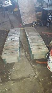 Wooden car ramps changing oil