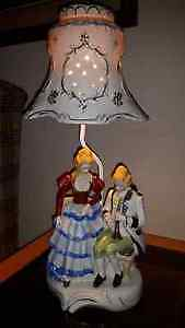VICTORIAN PORCELAIN FIGURINE LAMP with PORCELAIN LAMP SHADE