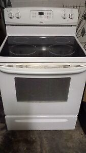 white flat top stove
