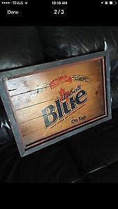 Labatt Blue wood bar sign