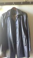 leather women's coat,knee long, size s, fit s-m