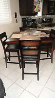 MODERN Pub Style Espresso Table and 4 Chairs (Retail $650)