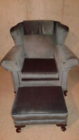 Antique / Blue Victorian Chair with Ottoman.