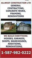 GENERAL CONTRACTING, SHOPS, GARAGES, CONCRETE WORK, CUSTOM HOMES