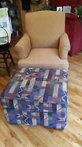 mustard wing chair and matching ottoman