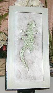 3D Gecko or Geico Wood Framed Folk Art