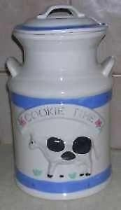 milk can shaped cookie jar with cow
