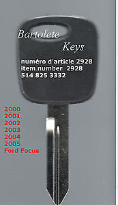 Transponder Key Blank Fits 2000 2001 2002 2003 2004 2005 Ford Fo