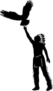 Indian With Eagle Native American Vinyl Decal Your Color Choice Sticker