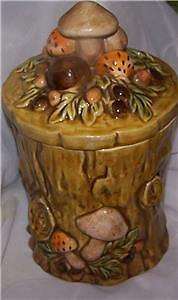 INTAGE LEFTON COOKIE JAR,CANISTER TREE STUMP WITH MUSHROOMS