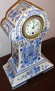 Blue & White Delft Dutch Mantle Clock Advertising With Key