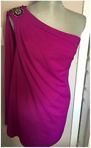 One shoulder cape magenta dress