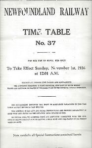 Newfoundland Railway Time Table # 37 November 1st. 1936