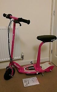 Pink razor scooter with seat