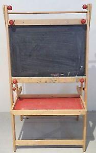 Vintage KID'S Chalkboard EASEL Wood Antique