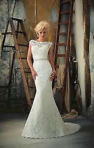 Lovely lace-yoked fluted wedding gown by Mori Lee Bridal #1901
