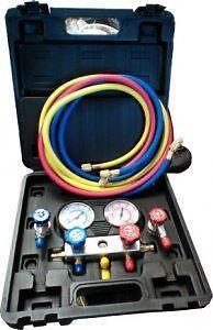 BRAND NEW MANIFOLD GAUGE R134A SET/11 PC. MANIFOLD ADAPTERS