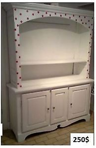Antique boudoir and white hutch with pink polka dots