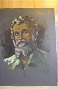 LARGE OIL PAINTING ON CANVAS of a man SIGNED NATHRAY / VATHRAY /
