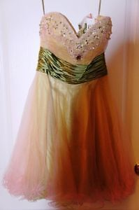 Chicas size small green bejewelled prom dress