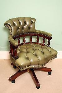 Wonderful Green Leather Captains Chair