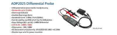 Adp2025 Acute Differential Probe 20x200x 25mhz 1400v