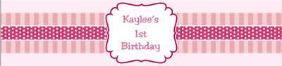 25 Pink Girl First Birthday Water Bottle Wrapper Favors Labels custom