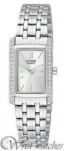 Ladies Citizen Quartz Classic Silver Dial Stainless Swarovski Wa EK1120-55A