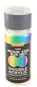 x6 - Double Acrylic Hycote Ford Paint Medium Steel Blue Metallic 150ml XDFD249