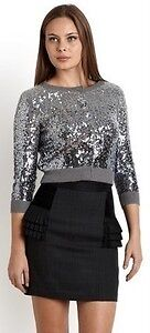 Bird By Juicy Couture Silver Sequin Cropped Vintage Style Cocktail Cardigan sz P