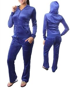 NEW Juniors Velour Suit Tracksuit Sweatsuit Sweatpants Hoodie black blue women