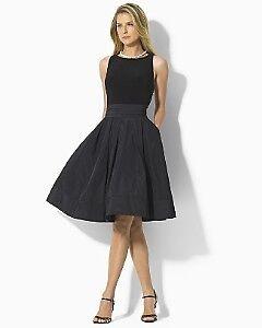 Ralph-Lauren-Yuko-Jersey-Taffeta-Black-Cocktail-Dress