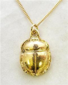 Scarab Beetle Pendant, necklace, Gold Plated Pewter