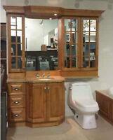 Vanité de salle de bain en merisier