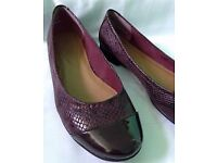 Clarks Leather Ballerina Burgundy Red Size UK 6