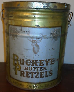 Vintage Advertising Tin With Handles Buckeye Butter Pretzels. Peterborough Peterborough Area image 1