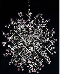 Modern Crystal Chandelier Lights Amethyst and Clear Crystal OBO