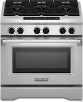 """Brand Name 36"""" Pro-Style Duel-Fuel Range with 5.1 cu. ft. Even-H"""