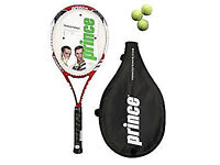 New Prince Triple Force Power Ti Tennis Racket + 3 Balls RRP £90 with Headcover