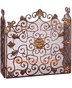 Antique Fireplace Screen >> Fireplace Screens Stained Glass Brass And Iron Ebay